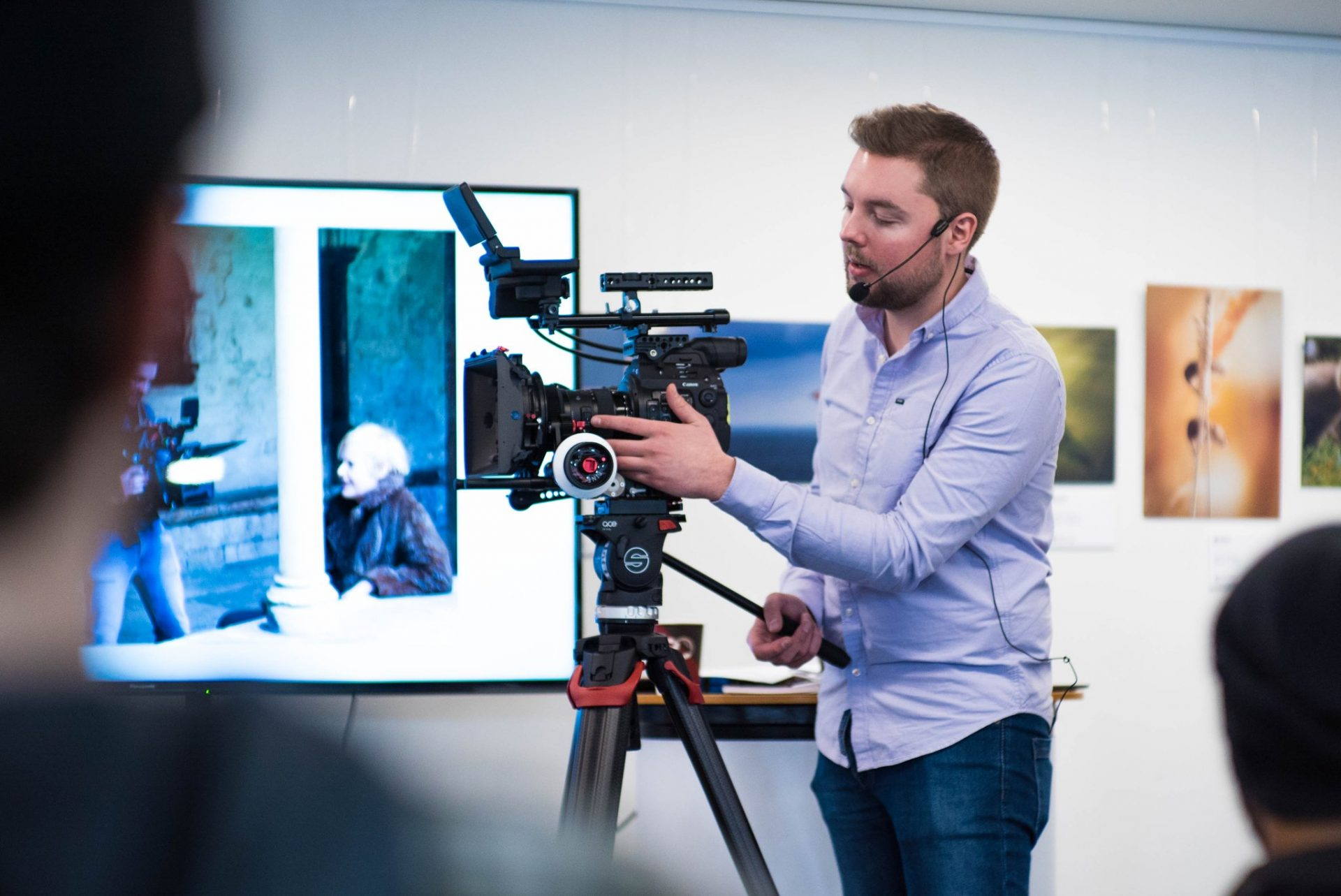 Tom teaching the attendees the best way to rig the Canon C300 MKII