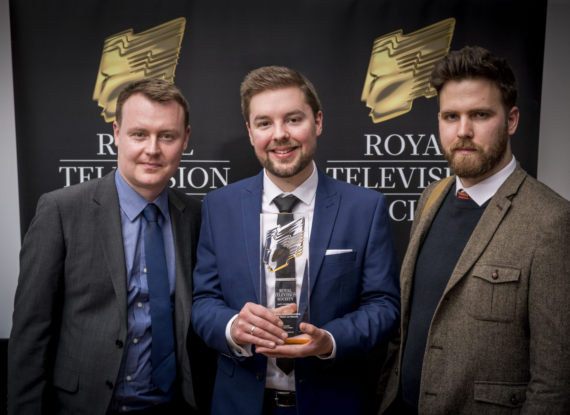 Forward's Creative Director Tom Martin and Stuart Dennis and Ben Piper from Wex Photo Video at the awards ceremony